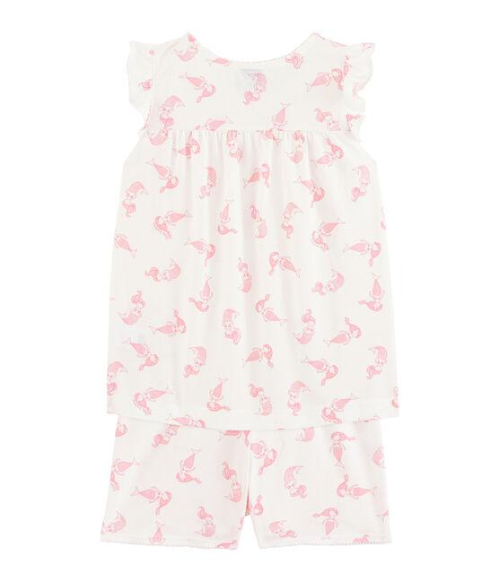 Pigiama corto bambina in cotone sottile bianco Marshmallow / rosa Rose