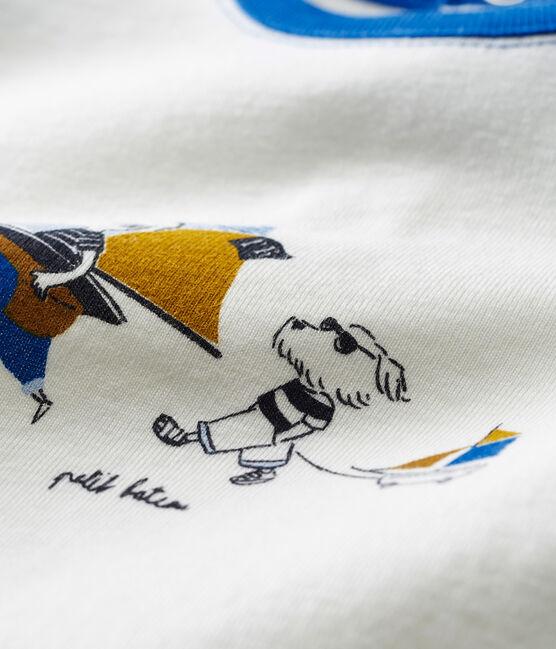 T-shirt mc bebè maschietto fantasia bianco Marshmallow / blu Toudou