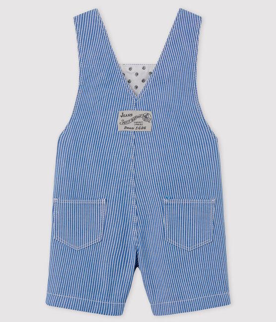 Salopette corta rigata bebè blu Surf / bianco Ecume