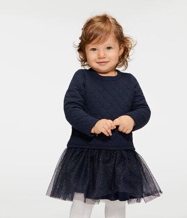 Abito bi-materiale a maniche lunghe da bebè femmina blu Smoking / bianco Marshmallow