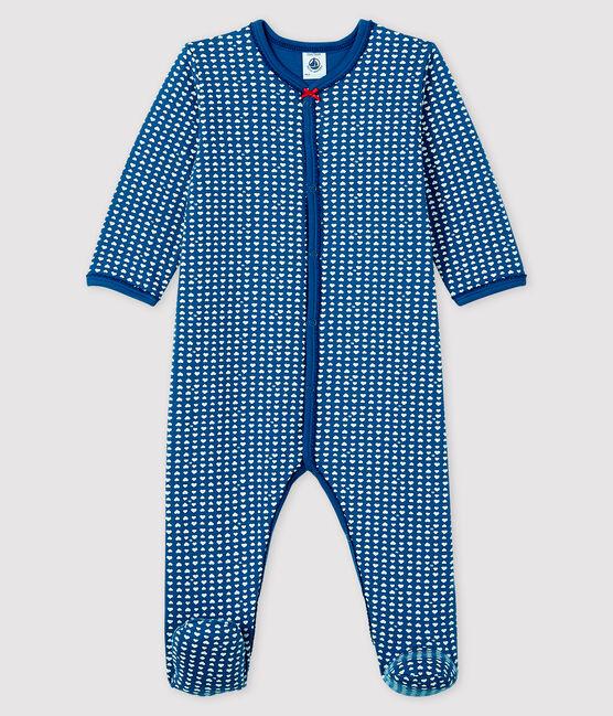 Tutina blu bebé femmina in tubique blu Major / bianco Ecume