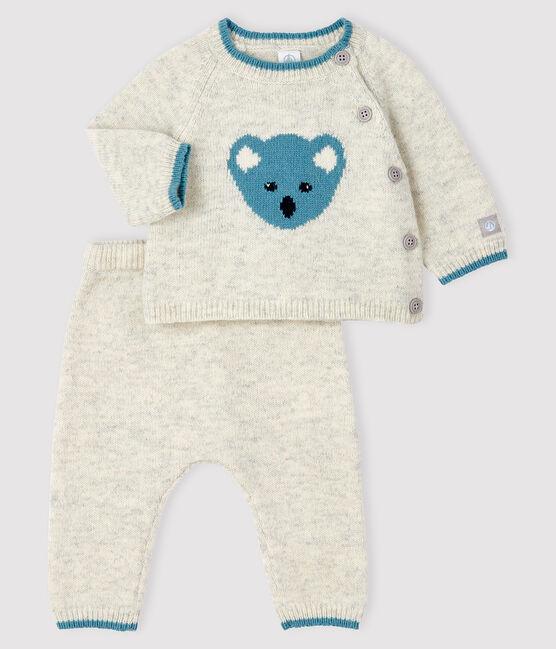 Completo 2 pezzi jacquard neonato in maglia grigio Beluga