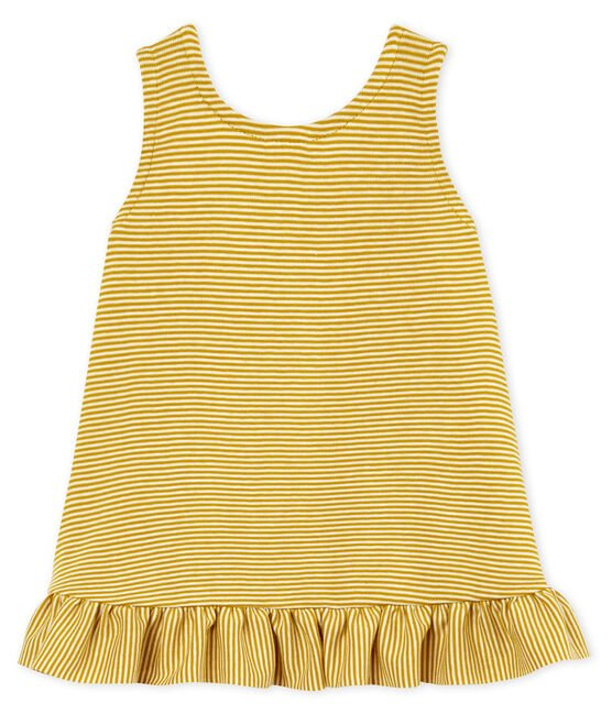 Abito senza maniche bebè femmina giallo Bamboo / bianco Marshmallow