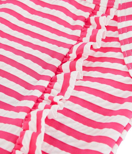 Costume da bagno intero a righe con dettagli di volant. rosa Geisha / bianco Marshmallow