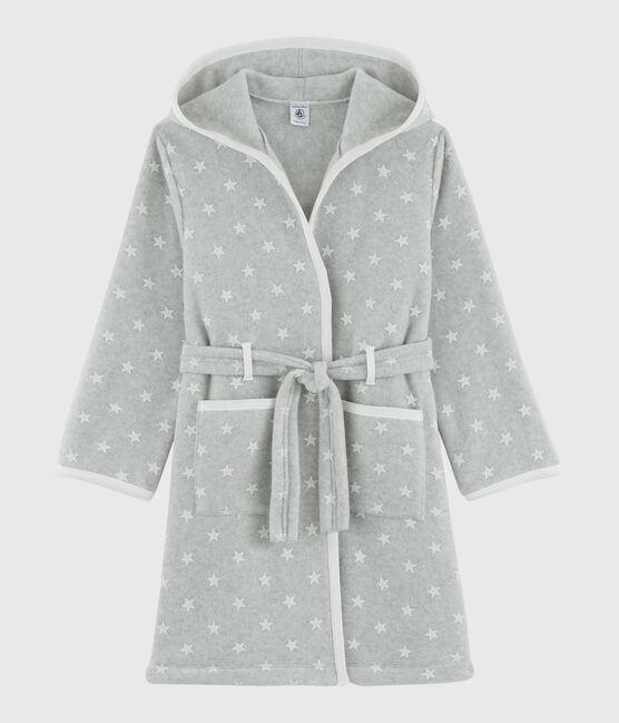 Vestaglia con stelle da bambino in pile grigio Beluga / bianco Ecume