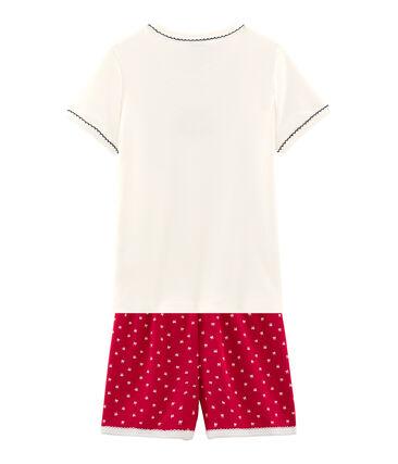 Pigiama corto bambina a costine rosso Terkuit / bianco Marshmallow