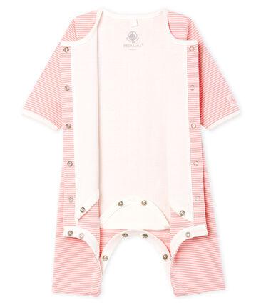 Bodyjama senza piedi bebè femmina a costine rosa Charme / bianco Marshmallow
