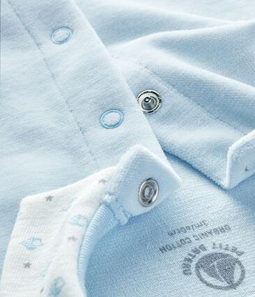 Tutina pigiama bebè maschio in ciniglia blu Fraicheur