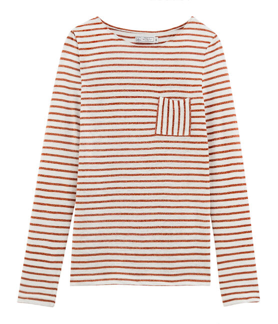T-shirt maniche lunghe donna in lino bianco Marshmallow / rosa Copper