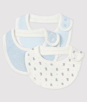 Confezione da 3 bavaglini neonato a coste lotto .