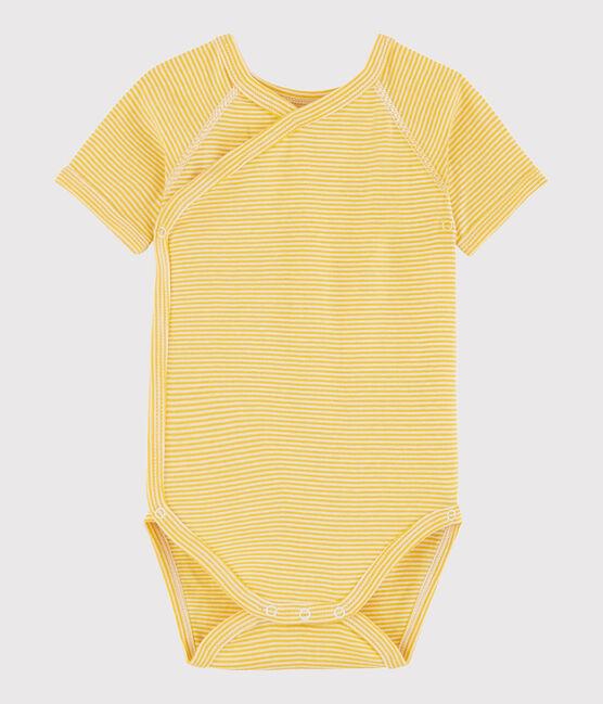 Body incrociato a manica corta bebè unisex giallo Honey / bianco Marshmallow