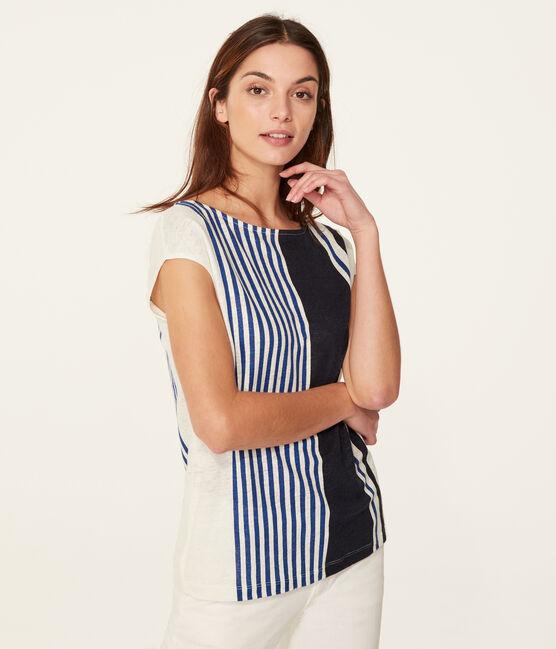 T-shirt maniche corte donna in lino bianco Marshmallow / bianco Multico