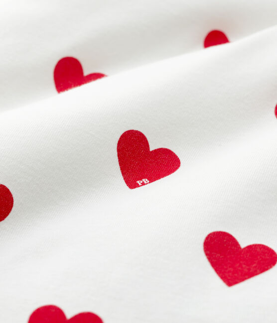 Giroletto cuore rosso bebè in costina bianco Marshmallow / rosso Terkuit