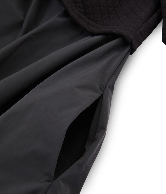 Abito bi-materiale a maniche lunghe donna nero Noir