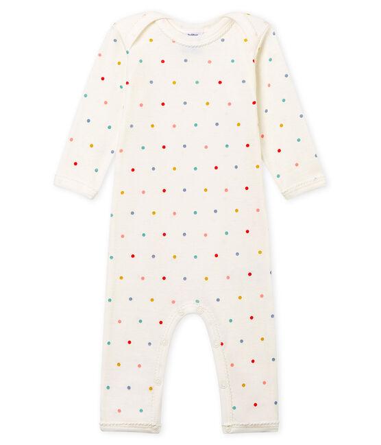 Body lungo in costina da neonata bianco Marshmallow / bianco Multico