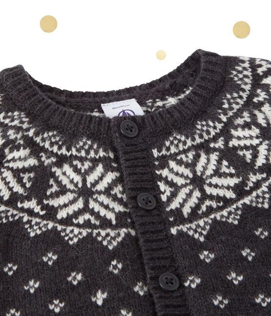 Cardigan jacquard per bebé in misto lana grigio Capecod / bianco Multico