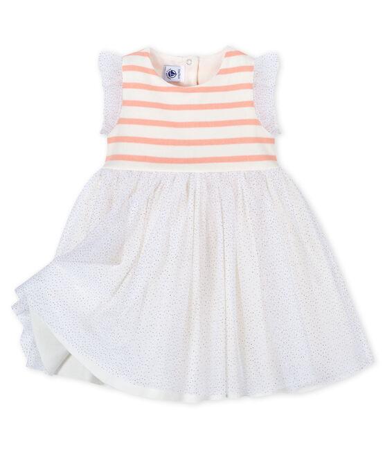 Abito in doppio materiale bebè femmina bianco Marshmallow / rosa Patience