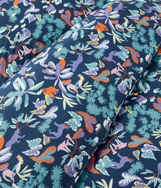 Completo biancheria da letto con motivo giungla in popeline blu Medieval / bianco Multico