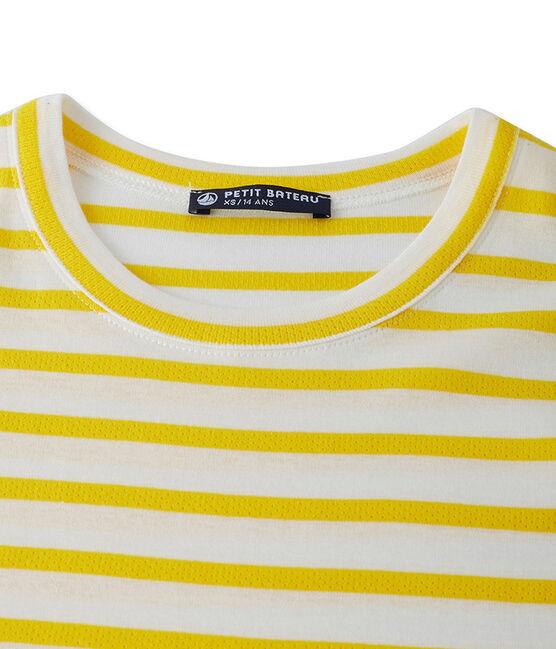 T-shirt donna in costina originale 1x1 rigata giallo Shine / bianco Marshmallow