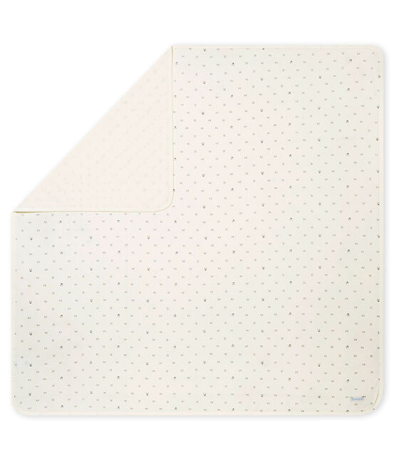 Copertina stampata per bebé unisex in tubique bianco Marshmallow / nero Noir