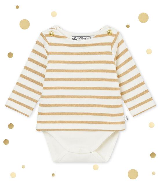 Body marinière luccicante per bebé femmina bianco Marshmallow / marrone Brindille Brillant