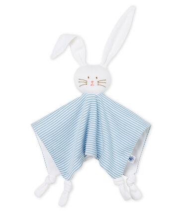 Doudou coniglietto bebè a costine blu Acier / bianco Marshmallow