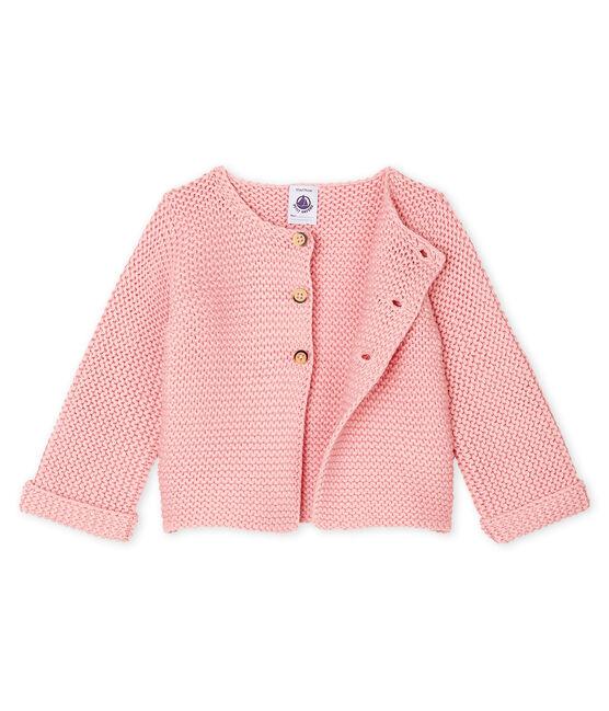 Cardigan in lana e cotone a punto legaccio bebè femmina rosa Charme