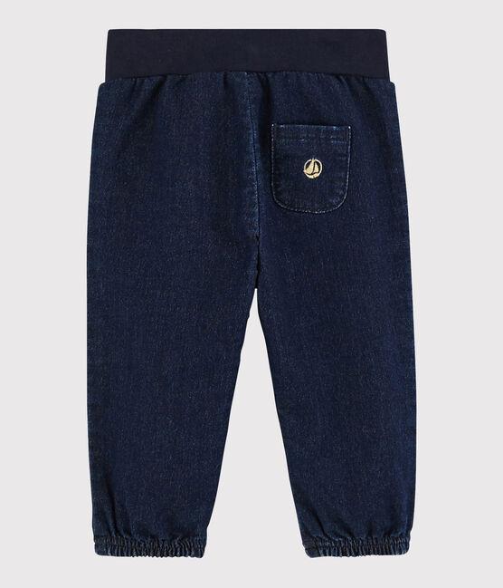 Pantalone bebè femmina in maglia denim blu Jean