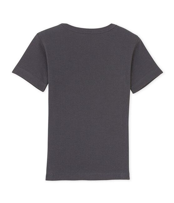 T-shirt bambino scollo a V con motivo grigio Maki