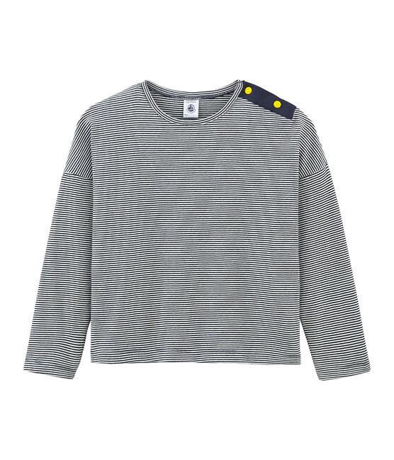 T-shirt maniche lunghe bambina blu Smoking / bianco Marshmallow
