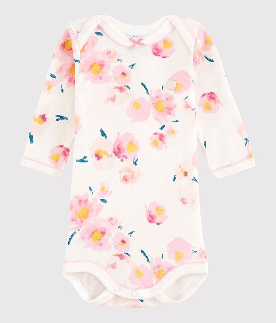 Body manica lunga bebè femmina bianco Marshmallow / bianco Multico
