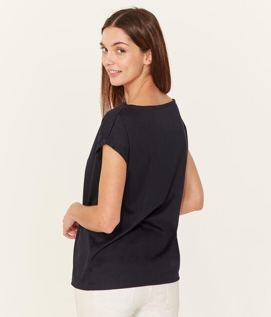 T-shirt maniche corte donna in cotone sea island blu Marine