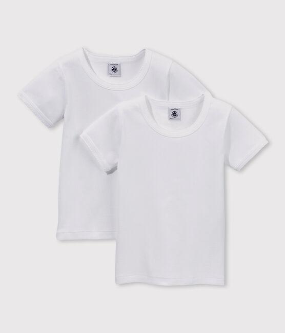 Confezione da 2 t-shirt bianche manica corta bambina lotto .