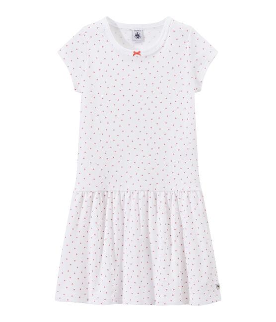 Camicia da notte bambina con stampa a cuori bianco Ecume / rosa Rose