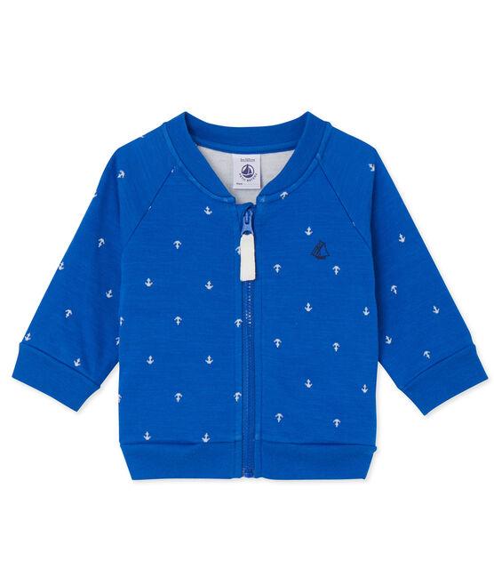 Cardigan bébé garçon en tubique blu Delft / bianco Lait