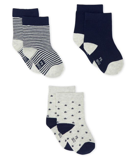 Confezione da 3 paia di calzini bebè maschio grigio Beluga / blu Smoking