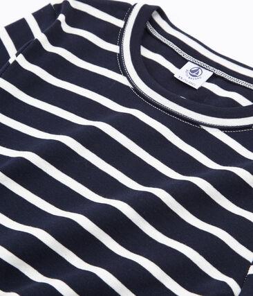 tee-shirtdonna maniche lunghe rigata blu Smoking / bianco Marshmallow
