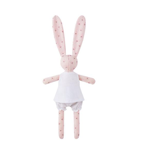 Doudou coniglietto stampato rosa Vienne / bianco Multico