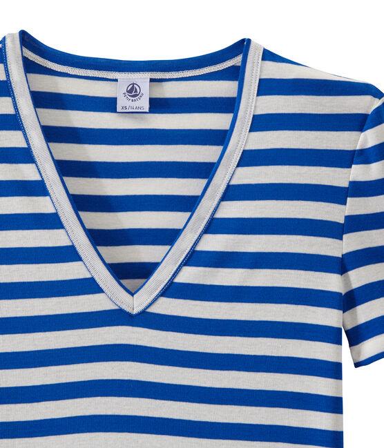 T-shirt donna scollo V in costina originale 1x1 rigata blu Perse / bianco Marshmallow
