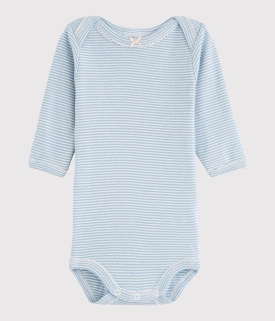 Body manica lunga bebè femmina blu Acier / bianco Marshmallow
