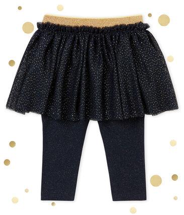 Gonna con leggings per bebé femmina blu Smoking / giallo Dore