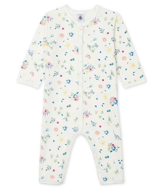 Tutina senza piedi a costine bebè femmina bianco Marshmallow / bianco Multico