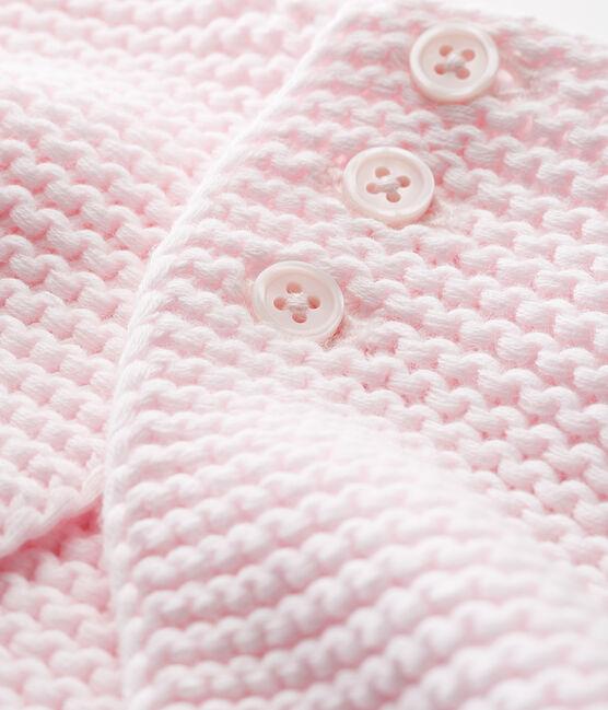 Cardigan punto legaccio bebè unisex rosa Vienne