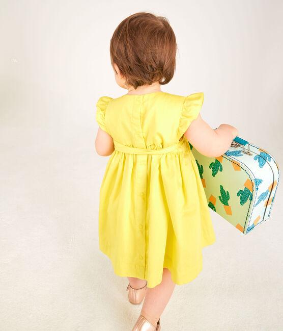 Abito a manica corta bebè femmina in raso giallo Eblouis