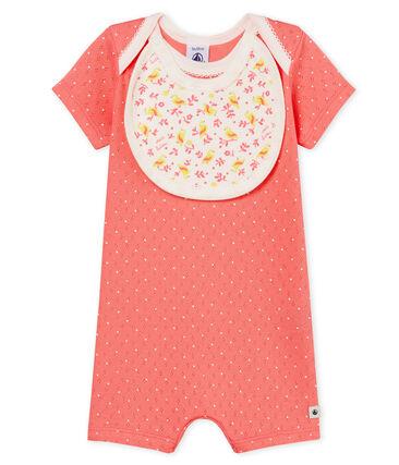 Tutina corta bebè bambina a costine rosa Cupcake / bianco Marshmallow