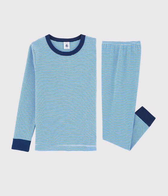 Pigiama millerighe blu bambino a costine blu Ruisseau / bianco Marshmallow
