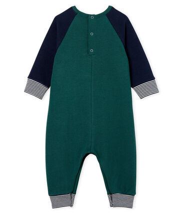 Tutina lunga da bebè maschio in molleton verde Sousbois / blu Smoking