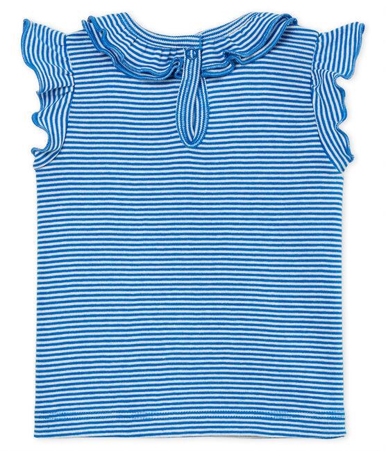 Blusa mc a righe bebè femmina blu Riyadh / bianco Marshmallow
