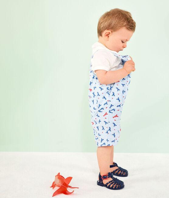 Salopette corta stampata bebè maschio bianco Marshmallow / bianco Multico