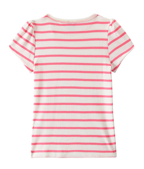 T-shirt bambina a righe marinière bianco Marshmallow / rosa Petal